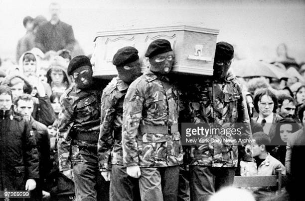 IRA honor guard carries casket containing body of hunger striker Bobby Sands He was the first of 27 hunger strikers to die in protest of British...