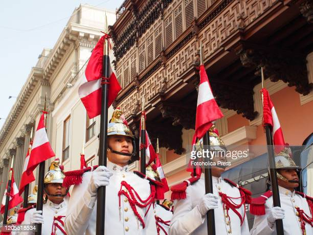 Honor guard of the Marshal Domingo Nieto Regiment in front of the Palace of Torre Tagle, headquarters of the Peruvian Foreign Ministry, during the...