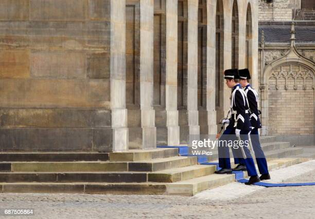 Honor Guard on Royal Palace at Dam Square in Amsterdam,Netherlands.