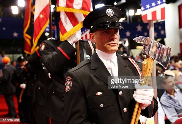 Honor Guard prepare for the start of the evening session on the first day of the Republican National Convention on July 18 2016 at the Quicken Loans...