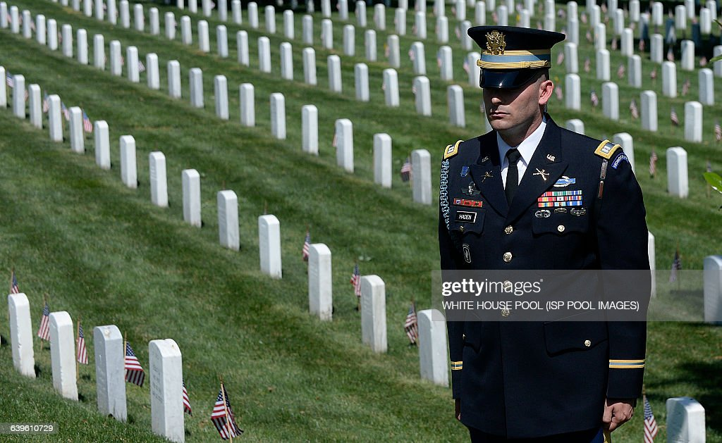 President Obama Lays Wreath On Tomb Of The Unknowns On Memorial Day- DC : News Photo