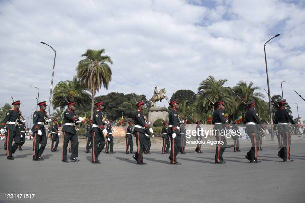 Honor guards march during a parade as Ethiopians celebrate the 125th anniversary of Ethiopia's victory over Italy at the Battle of Adwa on March 1 at...
