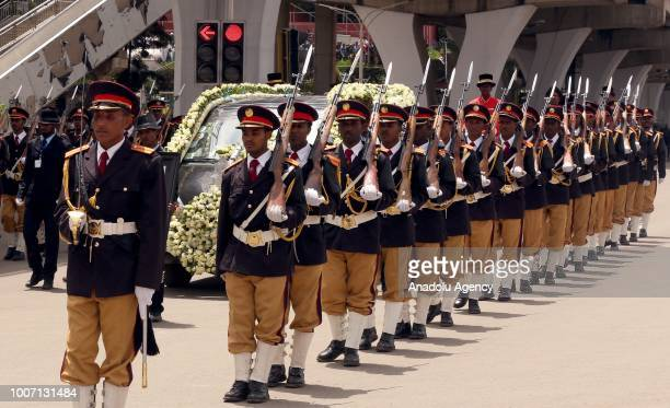 Honor guards parade during a funeral cortege for Engineer Simegnew Bekele the project manager for a hydroelectric dam since its construction began in...