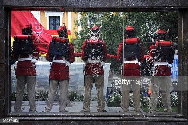 Honor guards stand January 22 2010 at the Palacio Quemado presidential palace in La Paz during the inauguration of the second term of Bolivia's...