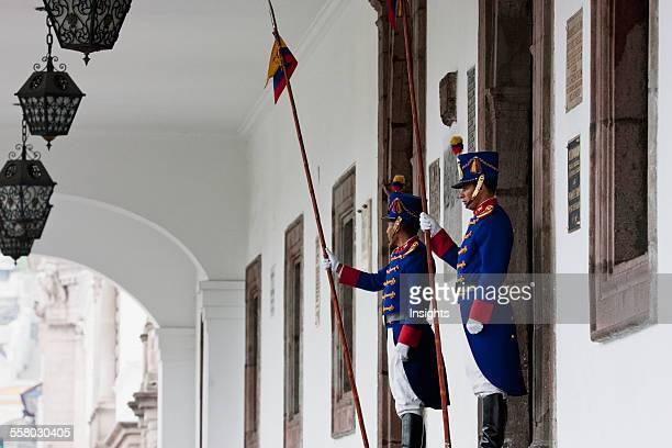Honor Guards Standing In Front Of Palacio De Carondelet Quito Pichincha Ecuador