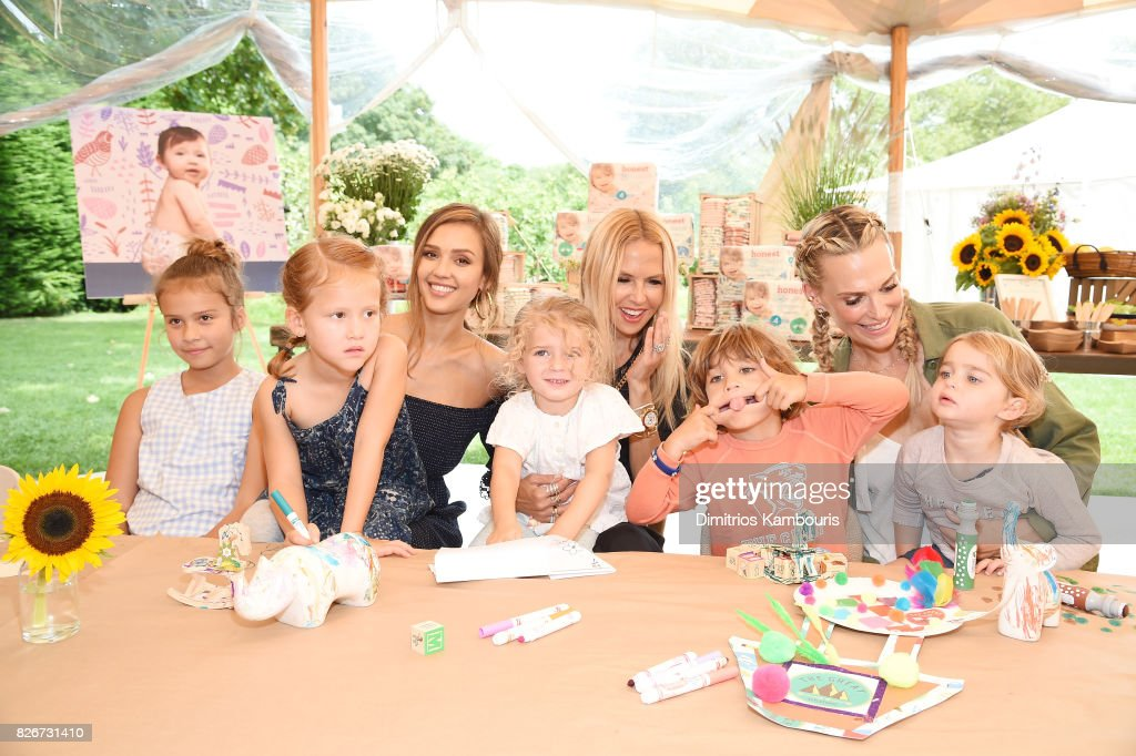Honor Marie Warren, Haven Garner Warren, Founder of The Honest Company and Honest Beauty Jessica Alba, Scarlett May Stuber, Rachel Zoe, Brooks Alan Stuber, Molly Sims, and Grey Douglas Stuber attend as the Honest Company and The GREAT. celebrate The GREAT Adventure on August 5, 2017 in East Hampton, New York.