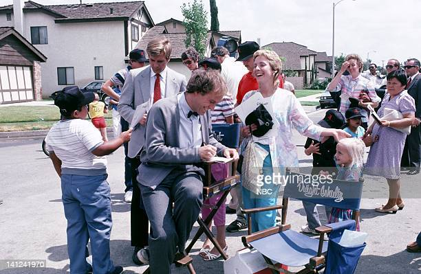 TEAM 'Honor Roll Drawing' Pictured Dirk Benedict and Dwight Schultz sign autographs for fans on set Photo by Ron Tom/NBCU Photo Bank