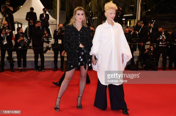 """Honor Swinton Byrne and Tilda Swinton attend the """"Les Olympiades """" screening during the 74th annual Cannes Film Festival on July 14, 2021 in Cannes,..."""