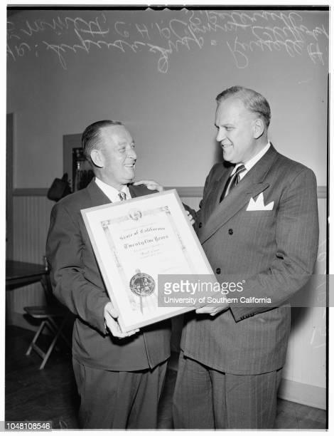 Honor ten servicemen in California Highway Patrol 10 October 1951 E Raymond Cato Harvey E Blackwell AJ Ford Russell H Emmett CC WardenOfficer...
