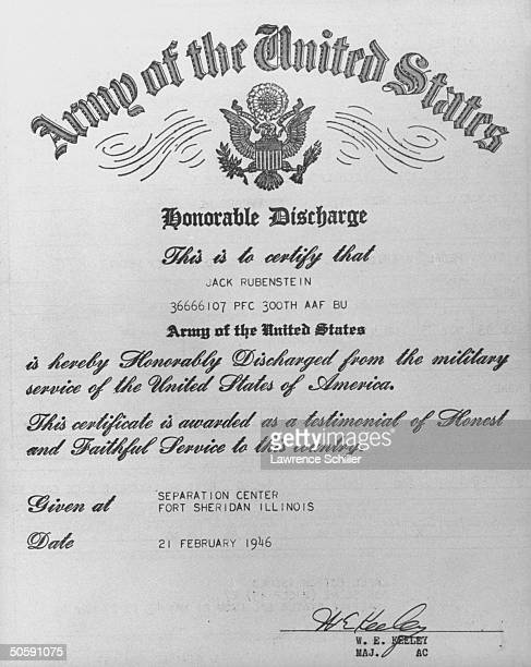 Honorable discharge papers from Army issued to Jack Ruby dated Feb 21 1946 Ruby killed alleged Kennedy assassin Lee Harvey Oswald