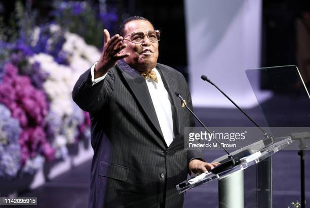 Honorable Minister Louis Farrakhan National Representative of The Honorable Elijah Muhammad and The Nation of Islam speaks onstage during Nipsey...
