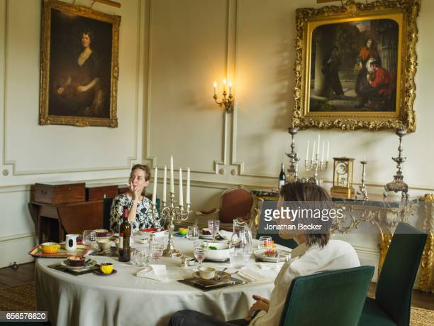 Honorable Nicholas AshleyCooper Earl of Shaftesbury is photographed with wife Dinah Streifeneder Countess of Shaftesbury on September 9 2015 at lunch...