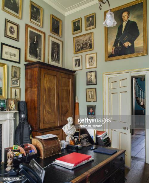 Honorable Nicholas AshleyCooper Earl of Shaftesbury office in St Giles House is photographed on September 9 2015 in Dorset England A portrait of his...