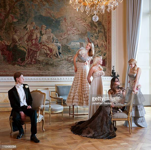 Honorable William Pelham Angelica Hicks Lady Kitty Spencer Carinthia Pearson and Georgina Robertson are photographed at the Hotel Crillon for Tatler...