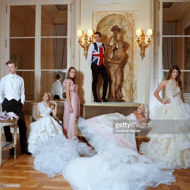 Honorable William Pelham Georgina Robertson Angelica Hicks Richard Dennen Lady Kitty Spencer and Carinthia Pearson are photographed at the Hotel...