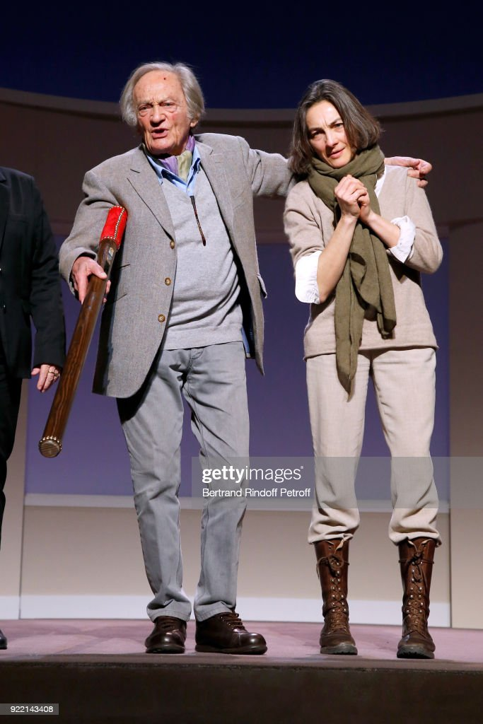 'Honorary Brigadier' for the quality of his programming, Director of Poche-Montparnasse Theater, Philippe Tesson and his daughter Artistic Director of Poche-Montparnasse Theater, Stephanie Tesson attend the 'Le Prix du Brigadier 2017' Award at Theatre Montparnasse on February 21, 2018 in Paris, France.