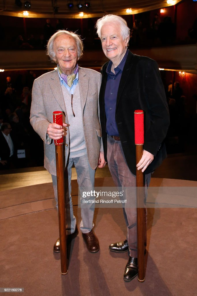 'Honorary Brigadier' for the quality of his programming, Director of Poche-Montparnasse Theater, Philippe Tesson and 'Honorary Brigadier' for 'Novecento' and all his Career, Andre Dussollier attend the 'Le Prix du Brigadier 2017' Award at Theatre Montparnasse on February 21, 2018 in Paris, France.