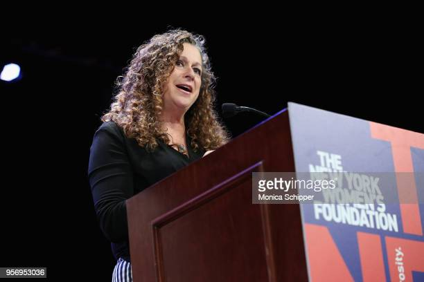 Honorary chair and cofounder of Level Forward Abigail E Disney speaks onstage during attends the New York Women's Foundation's 2018 Celebrating Women...