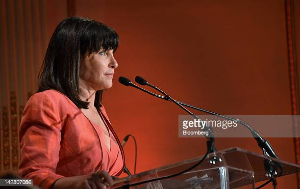 Honorary chair Judy Dimon speaks at the Ballet Hispanico gala in New York US on Monday April 9 2012 The annual spring event sponsored by JPMorgan...