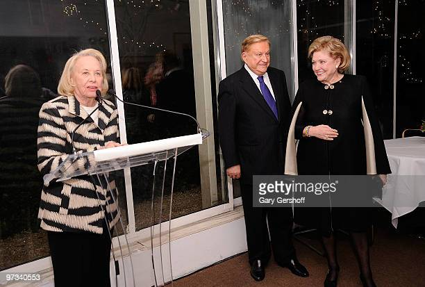 Honorary Chair Liz Smith and honorees Robert Bradford and Barbara Taylor Bradford attend the Literacy Partners 26th annual Evening of Readings...