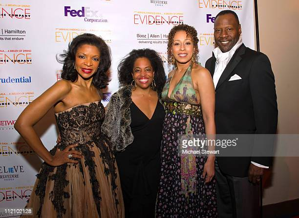 Honorary Chair Pamela Joyner actress Rhonda Ross actress Tamara Tunie and musician Gregory Generet attend the 7th annual Evidence Gala A Breath of...