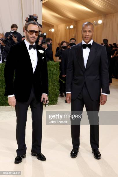 Honorary chair Tom Ford and Heron Preston attend The 2021 Met Gala Celebrating In America: A Lexicon Of Fashion at Metropolitan Museum of Art on...