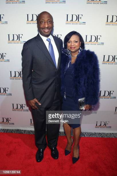 Honorary Chairs Kenneth and Andrea Frazier attend the NAACP LDF 32nd National Equal Justice Awards Dinner at The Ziegfeld Ballroom on November 1 2018...