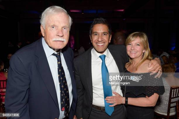 Honorary Chairs Ted Turner Dr Sanjay Gupta and Rebecca Gupta attend the Fourth Annual UNICEF Gala at The Foundry At Puritan Mill on April 12 2018 in...