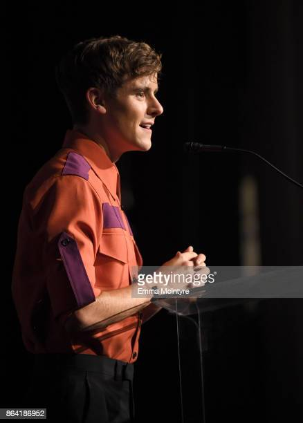 Honorary CoChair Connor Franta speaks onstage during the 2017 GLSEN Respect Awards at the Beverly Wilshire Hotel on October 20 2017 in Los Angeles...