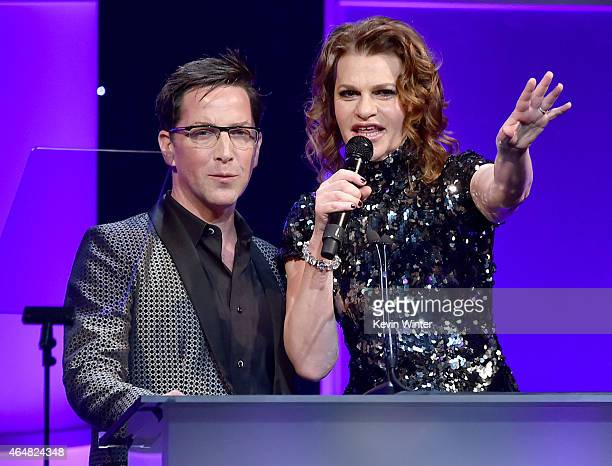 Honorary cochair Dan Bucatinsky and host Sandra Bernhard speak onstage during the Family Equality Council's 2015 Los Angeles Awards dinner at The...