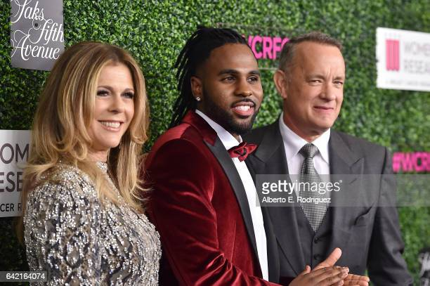 Honorary CoChairs Rita Wilson and Tom Hanks and singer Jason Derulo attend WCRF's An Unforgettable Evening presented by Saks Fifth Avenue at the...