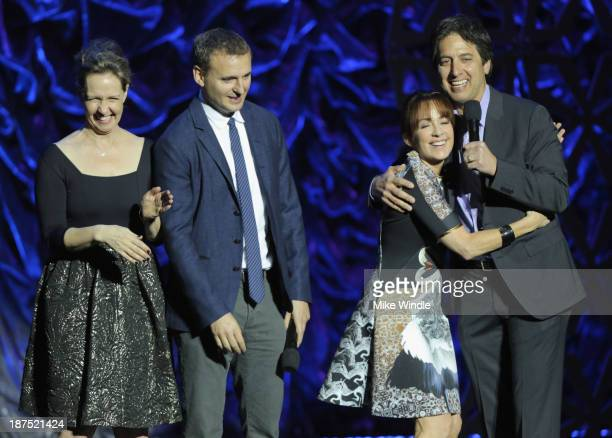 IMF Honorary Committee members Monica Rosenthal Phil Rosenthal and Patricia Heaton and host Ray Romano speak onstage the International Myeloma...