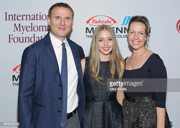 Honorary Committee members Phil Rosenthal and Monica Rosenthal and Lily Rosenthal attend the International Myeloma Foundation's 7th Annual Comedy...