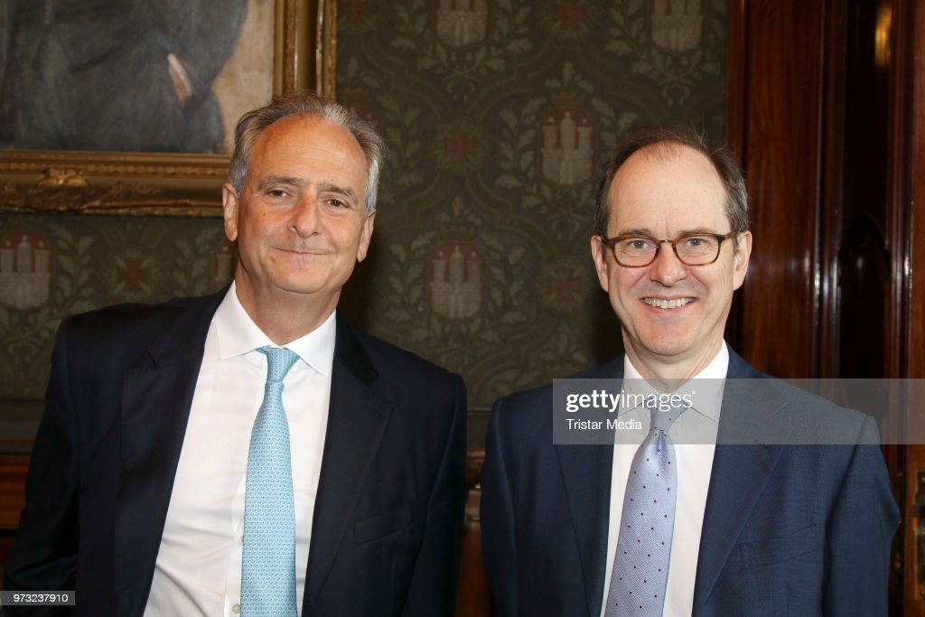 Honorary consul Nicholas Keller and S..E. Sir Sebastian Wood, ambassador of Great Britan and North Irland during he visits in the town hall on June 13, 2018 in Hamburg, Germany.