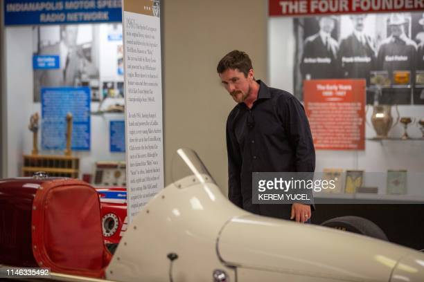 Honorary costarter of the Indy 500 Christian Bale appears at the Indianapolis Motor Speedway on May 25 2019 in Indianapolis Indiana ahead of the...