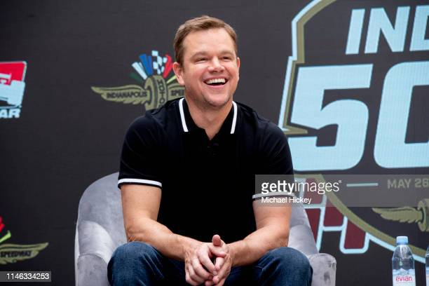 Honorary co-starter of the Indy 500 Matt Damon appears at the Indianapolis Motor Speedway on May 25, 2019 in Indianapolis, Indiana.