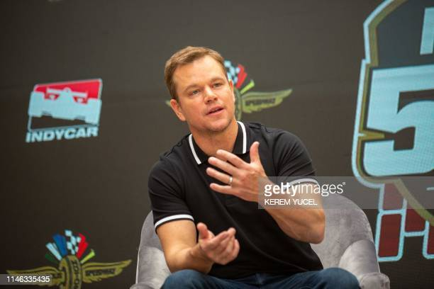 Honorary costarter of the Indy 500 Matt Damon speaks at the Indianapolis Motor Speedway on May 25 2019 in Indianapolis Indiana ahead of the 103rd...