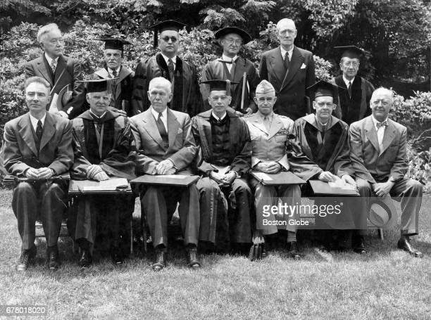 Honorary degree recipients pose at the 1947 Harvard University commencement on Jun 5 1947 In front row from left to right are JR Oppenheimer atom...