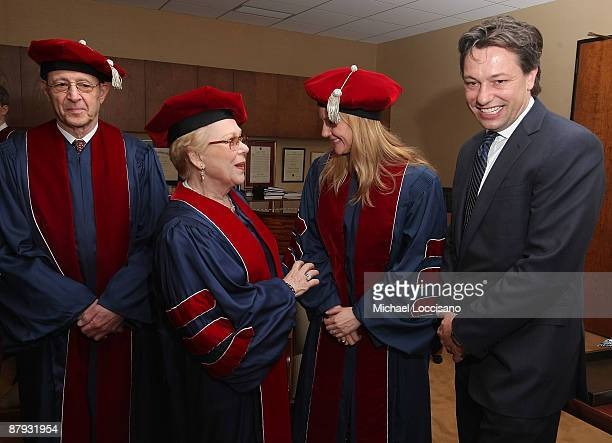 Honorary Doctorate recipients musician Steve Reich soprano Renata Scotto actress Laura Linney and Marc Schauer attend Julliard's 104th commencement...