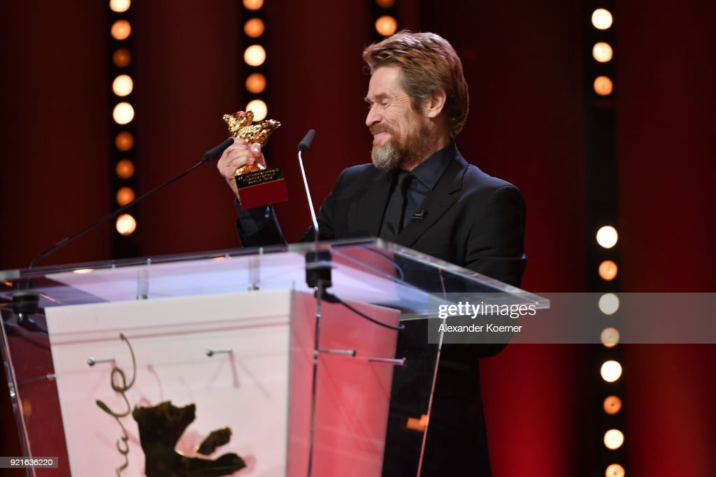 Honorary Golden Bear Winner Willem Dafoe poses with his award at the Homage Willem Dafoe - Honorary Golden Bear award ceremony and 'The Hunter' screening during the 68th Berlinale International Film Festival Berlin at Berlinale Palast on February 20, 2018 in Berlin, Germany.