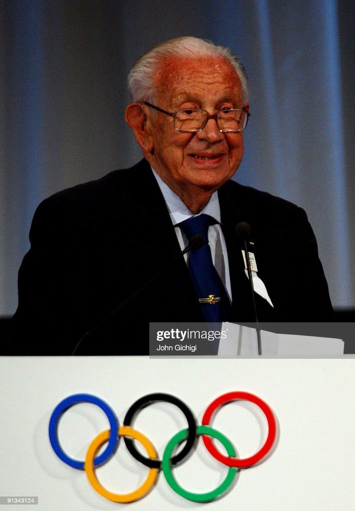 IOC honorary life president Juan Antonio Samaranch addresses IOC members during the Madrid 2016 presentation on October 2, 2009 at the Bella Centre in Copenhagen, Denmark. The 121st session of the International Olympic Committee (IOC) will vote on October 2 on whether Chicago, Tokyo, Rio de Janeiro or Madrid will host the 2016 Olympic Games.