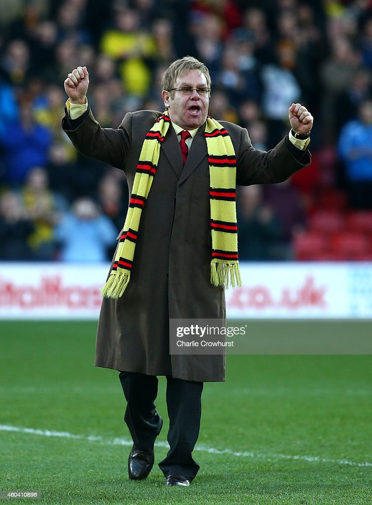 Honorary Life President Sir Elton John in attendance for the unveiling of 'The Sir Elton John stand' during the Sky Bet Championship match between Watford and Wigan Athletic at Vicarage Road on December 13, 2014 in Watford, England.