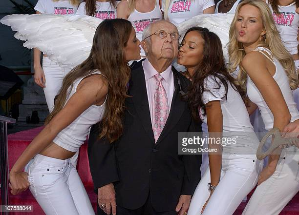 Honorary Mayor Johnny Grant with the Victoria's Secret Models Izabel Goulart Selita Ebanks and Karolina Kurkova
