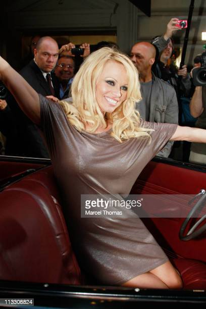 Honorary PETA Director Pamela Anderson attends the Horsedrawn Carriage Industry protest on the streets of Manhattan on April 30 2011 in New York City