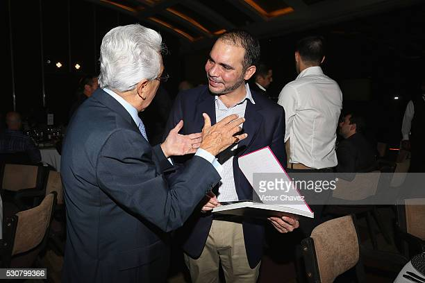 Honorary president mexican football federation FMF Justino Compean and Prince of Jordan Ali Bin al Hussein attend the Soccerex Americas Forum VIP...