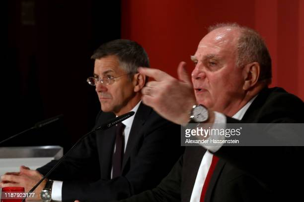 Honorary President of FC Bayern Muenchen Uli Hoeness talks to the media next to FC Bayern Muenchen President Herbert Hainer during a pressconference...