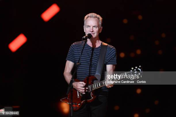 Honorary President of the 33rd Victoires de la Musique 2018 singer Sting performs during the 33rd 'Les Victoires De La Musique' at La Seine Musicale...