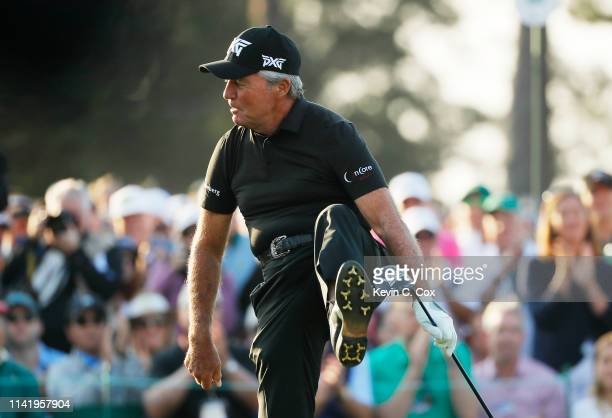 Honorary starter and Masters champion Gary Player of South Africa reacts on the first tee during the first round of the Masters at Augusta National...