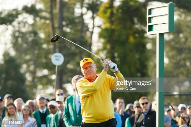 Honorary starter and Masters champion Jack Nicklaus plays his shot during the First Tee ceremony to start the first round of the Masters at Augusta...