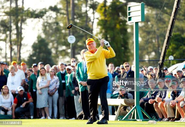 Honorary starter and Masters champion Jack Nicklaus plays the opening tee shot on the first hole during the first round of the Masters at Augusta...